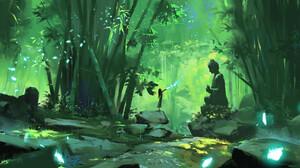 Aze K Digital Art Landscape Forest Bamboo Statue Asian Architecture 1920x828 Wallpaper