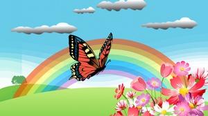 Artistic Butterfly Flower Rainbow Spring 3840x2160 Wallpaper