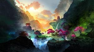 T1na Fantasy Art Landscape Mountains Waterfall Trees 2560x1440 Wallpaper