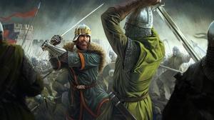 Battle Warrior Knights Sword Fantasy Art 6000x3719 Wallpaper