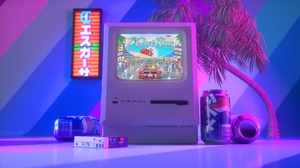 Vintage Neon Synthwave Video Games Can Monitor 1920x1080 Wallpaper