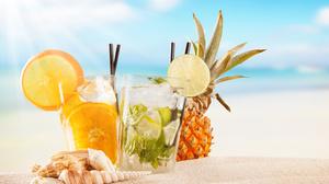 Cocktail Drink Fruit Glass Sand Shell Summer 5616x3744 Wallpaper