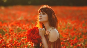 Depth Of Field Girl Model Poppy Red Flower Redhead Summer Woman 1920x1280 Wallpaper