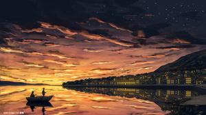 City Boat Sunset Starry Sky 1920x1080 Wallpaper