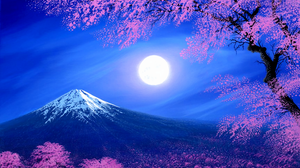 Artistic Cherry Blossom Fantasy Moon Mount Fuji Mountain Spring Tree 1920x1200 Wallpaper