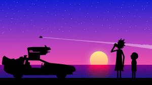 Rick And Morty Rick Sanchez Morty Smith Purple Car Sunset 2560x1440 Wallpaper