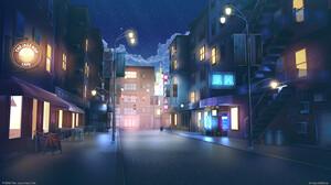Bogdan MB0sco Digital Art Starry Night Night Street Neon Sign Cafe Street Light 1536x864 Wallpaper
