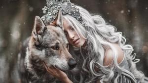 Women Model Marketa Novak Animals Mammals Fantasy Girl Dog 2048x1365 wallpaper