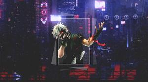 Tokyo Tokyo Ghoul Kaneki Ken Red Dark Night Anime Boys Anime Blood Moon Picture In Picture 3840x2160 wallpaper
