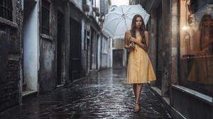 Viktoria Stephanie Stefan Hausler Women Umbrella Rain Yellow Dress Reflection Sandals Urban Women Ou 2048x1366 Wallpaper