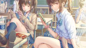 Anime Girls Original Characters Hirokazu Schoolgirl School Uniform Classroom 1368x1167 Wallpaper