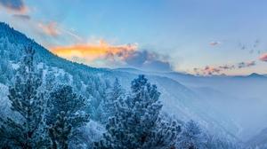 Forest Landscape Mountain Winter 9318x6995 Wallpaper