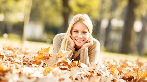 Woman Girl Blonde Smile Depth Of Field Leaf 4000x2532 Wallpaper