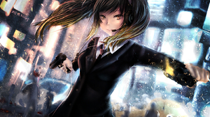 Girl Suit Long Hair Black Hair Anime Gun Twintails Kumo Mitsumi 1600x1200 Wallpaper