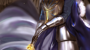 Saber Fate Series Anime Girls Fan Art Looking At Viewer Armor Arm Warmers Cape Glowing Vertical Artw 2339x3508 Wallpaper