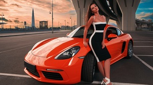 Women Car Road Sport Brunette Sunset Luxury Porsche Vehicle Urban Fashion Evening Model City Seducti 5587x4000 Wallpaper