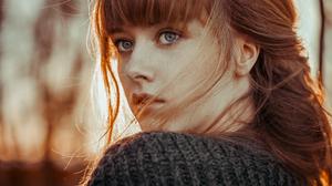 Blue Eyes Depth Of Field Face Girl Model Redhead Woman 2000x1333 Wallpaper