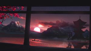 Digital Art Drawing Sunset Sun Mountains Boat Lake Cherry Blossom Japan House T1na Artwork Digital M 2560x1209 Wallpaper