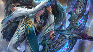 Jeremy Chong Drawing Women Gold Chains Dark Hair Long Hair Weapon Fantasy Art 1742x2300 Wallpaper