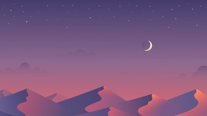 Minimalist Moon Mountain Sky Stars 5120x2880 Wallpaper