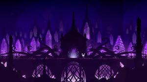 Silhouette Minimalism Purple Background 1600x900 Wallpaper