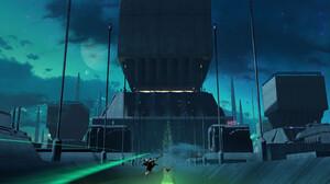 Eduardo Pena Digital Art Science Fiction City Machine Moon Hologram Cityscape Vehicle 3500x1769 Wallpaper