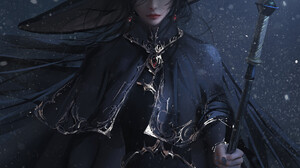 Nixeu Drawing Women Hat Staff Fantasy Art Black Clothing Night Snow 1112x1400 Wallpaper