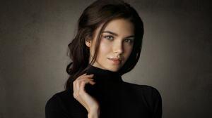 Women Brunette Long Hair Looking At Viewer Makeup Black Clothing Simple Background Portrait 1949x1259 wallpaper