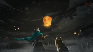 Dog Night Sky Artwork Fantasy Men Fantasy Art Lantern 1920x1080 Wallpaper