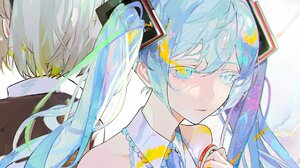 Anime Anime Girls Blue Hair Long Hair Vocaloid Blue Eyes Scissors Hatsune Miku Twintails 1920x1600 wallpaper