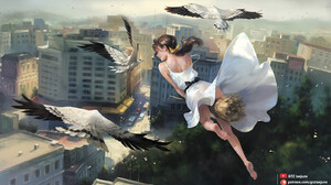 Ponytail Fantasy Girl Dress White Dress Witch Broom Witches Broom Barefoot City Birds Fantasy Art Ar 1600x900 Wallpaper