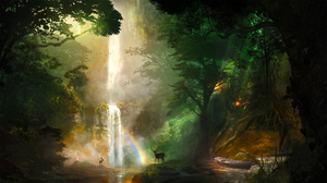 Animal Deer Forest Nature Rainbow Waterfall 2560x1440 Wallpaper