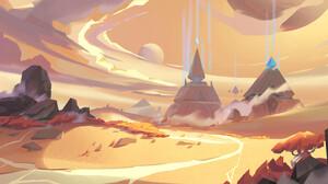 YH Wu Digital Art Fantasy Art Clouds Desert Sand Pyramid Trees Landscape 1920x853 Wallpaper