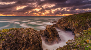 Coast France Ocean Rock Sunset Cloud Sky 4380x2530 Wallpaper