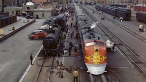 Train Diesel Locomotive Santa Fe Railway Railroad Track Rail Yard City Urban People Vintage Portrait 4270x5460 Wallpaper
