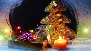 Candle Christmas Christmas Tree Decoration Gift 1600x1067 Wallpaper