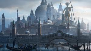 Building Dome Gondola Statue 3500x1361 Wallpaper
