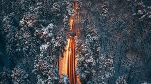 Winter Road Birds Eye View Trees Snow Outdoors 3840x2160 Wallpaper