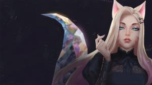 Ahri League Of Legends K Pop Cat Girl Blue Eyes Woman Blonde Animal Ears K Da 3840x2160 wallpaper