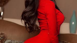 Women Ukrainian Ukrainian Model Model Dark Hair Long Hair Red Dress Couch Looking Over Shoulder Wome 1080x1920 Wallpaper