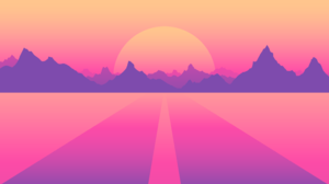 OutRun Retrowave Synthwave Purple Purple Background Pink Pink Background Minimalism Material Minimal 3840x2160 Wallpaper