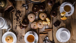 Chocolate Cinnamon Coffee Coffee Beans Cup Doughnut Still Life Sweets 1920x1080 Wallpaper