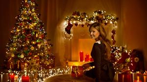 Christmas Christmas Lights Girl Model Woman 1920x1324 Wallpaper