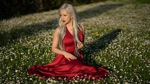 Blonde Girl Lipstick Model Red Dress Woman 6000x3777 wallpaper