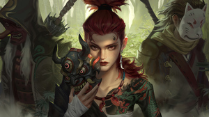 Woman Warrior Girl Red Hair Tattoo Mask Red Eyes 3840x1920 Wallpaper