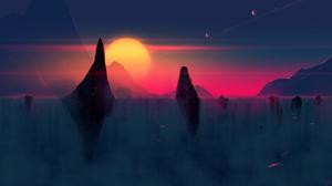 Artistic Sunrise Waterfall 2560x1440 Wallpaper