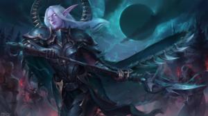 Armor Elf Pointed Ears White Hair Woman Warrior 2558x1440 Wallpaper
