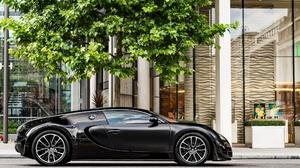 Black Car Bugatti Bugatti Veyron Building Car Sport Car Supercar Tree Vehicle 2048x1280 wallpaper