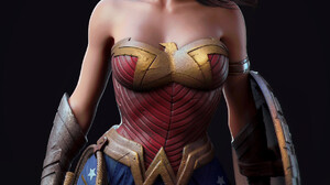Artwork Wonder Woman Fantasy Girl Women Digital Art Simple Background Black Background Render CGi 1241x1590 Wallpaper