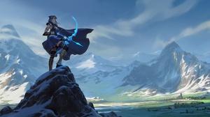 Ashe League Of Legends Bow Girl Landscape League Of Legends 2560x1280 Wallpaper